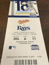 2011 Tampa Bay Rays vs. Baltimore Orioles April 3rd Zack Britton Debut Stub