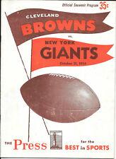 OCT 31, 1954 CLEVELAND BROWNS vs NEW YORK GIANTS ORIGINAL FOOTBALL PROGRAM
