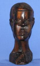 Vintage Hand Carved Wood Man Head Statuette