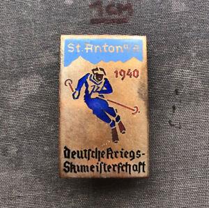 OLD SKI SKIING AUSTRIA GERMANY ST. ANTON WAR SKI CHAMPIONSHIP 1940 PIN BADGE!!!