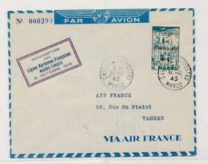 D176074 Morocco Air France Airmail Cover Casablanca Tanger 1945