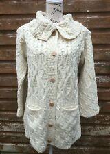 Ladies Aran Jacket UK 18 Wool 46 L New Coat Merino Pockets Button Soft Cardigan
