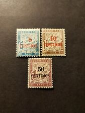 TIMBRE FRANCE COLONIE MAROC TAXE N°1/2/4 NEUF * MH 1896 COTE 59€
