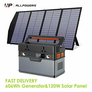 606Wh Portable Generator Power Station with 120W Foldable Solar Panel Camping RV