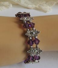Stunning Amethyst Faceted Crystal Beads Rhinestone Set in Marcasite Bracelet