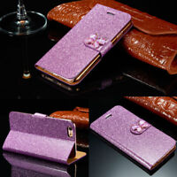 Womens Ladies Flip Magnetic Glitter Butterfly Clip Case Cover For iPhone/Samsung