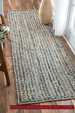 Rug Runner Jute & Denim Reversible 3x12 Feet Braided Style Rug Rustic Look Rug
