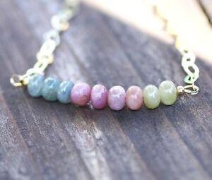 Natural Rainbow Sapphire Necklace Yellow Gold Vermeil , September Birthstone