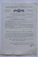 Ordre du jour - Q G du Caire - 9 Vendémiaire An 7 - Signé Grézieu- 1798
