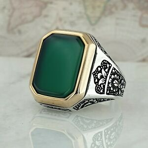 Solid 925 Sterling Silver Green Agate Gemstone Mens Ring Turkish Ottoman Style