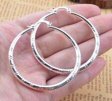 Elegant Jewelry Women 925 Silver Carved Hoop Earrings Wedding Engagement