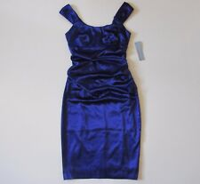 NWT London Times Purple Gem Scoop Neck Stretch Satin Ruched Sheath Dress 6