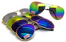 Wholesale Lots 12 Pairs Metal Pilot Style Unisex Sunglasses With Colorful Lens
