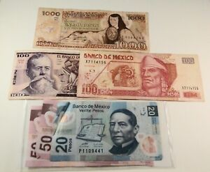 Dealer LOT; MEXICO Currency:(2) 100 (1) 1000 (2) 50 & (1) 20 PESOS