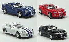 NOUVEAU: 4 pièces Dodge Viper GTS-R voiture miniature 1:72 Métal Moulage 6,3 cm Kinsmart
