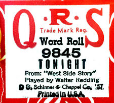 QRS Word Roll TONIGHT (West Side Story) 9845 Walter Redding Player Piano Roll