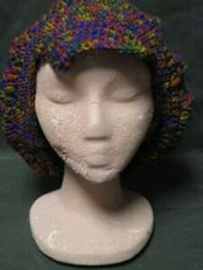 HAND CROCHETED DARK MIXED COLORS HAT NEW
