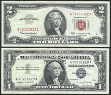 1963 $2 RED! 1957A $1 **SILVER** 2 Notes! CRISP VF! Old US Paper Money Currency!