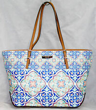 NWT $89 NINE WEST It Girl East West Tote Shopper Blue Floral Geometric Print