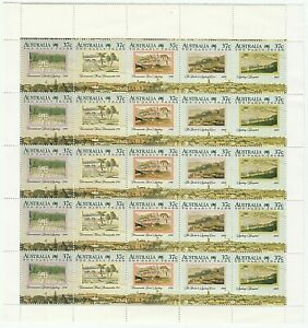 1973 AUSTRALIA STAMP SHEET BLOCK 25 x 37c MNH - THE EARLY YEARS OF SETTLEMENT