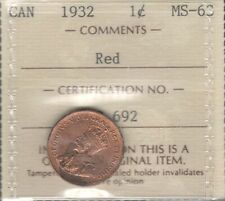 1932 Small Cent ICCS MS-63 RED Choice BU ** BEAUTIFUL King George V Canada Penny