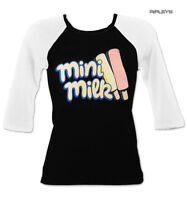 Official Ladies Raglan Black T Shirt Wall's Ice Cream MINI MILK Retro All Sizes
