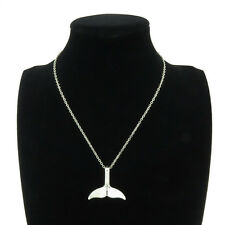 """Silver Alloy Ocean Whale Tail Pendant Short Chain Collar Chunky Necklace 18"""""""