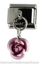 Pink Rose Bud Flower 9mm Italian Charm Stainless Steel Modular Dangle Link