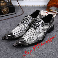 Men's Snakeskin Pattern Metal Pointy Toe Genuine Leather Formal Dress Shoes Plus