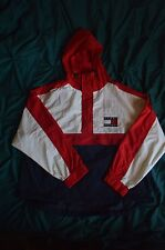 Vtg Tommy Hilfiger Colorblock Flag Hooded Jacket Pull over Windbreaker jacket