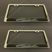2pc xCadillac STAINLESS STEEL LICENSE PLATE FRAME HOLDER (Carbon Fiber Style)