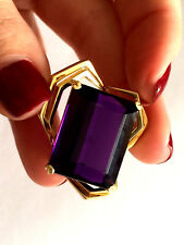EXQUISITE CUT AND COLOR LARGE AMETHYST FREE FORM PENDANT YELLOW GOLD 18KT .750