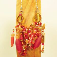 "2 1/2"" Red Gold Mixed Bead Bohemian Style Handmade Dangle Seed Bead Earring"