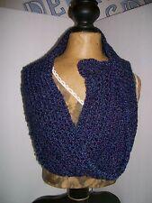 Scarf /cowl soft Handmade Crocheted dark blue 40'' c x 8'' w Soft acrylic yarn