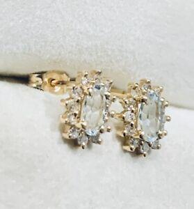 14k Yellow Gold Diamond & Aquamarine Halo Stud Earrings