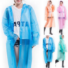 Adults Waterproof Transparent Plastic Reusable Outdoor Poncho Hooded Raincoat