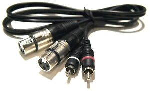 Dual XLR F Female to RCA M Male 2 Stereo 3ft Adapter Changer Cable Left Right