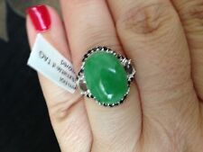 Enhanced Green Jade (Ovl 10.25 Ct), White Topaz, Thai Black Spinel silver Ring