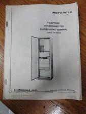 Motorola VINTAGE Telephone interconnect Paging terminal Manual 68P81000C70  #390