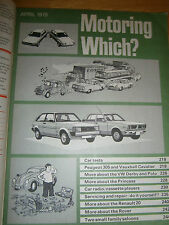 VINTAGE WHICH MAGAZINE APRIL 1979  MOTORING PEUGEOT, VAUXHALL