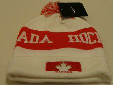 Team Canada 2014 Winter Olympics Sochi Hockey White Pom Toque Beanie Hat Cap OS