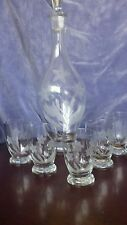 Vintage wine/brandy/juice decanter made in Romania with 5 glasses