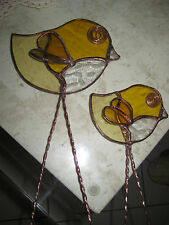 leadlight suncatcher - chicks- yellows and clear speckled stained glass