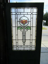 ~ ANTIQUE DOOR WITH STAINED GLASS ~ 31.5 x 80.5 ~ ARCHITECTURAL SALVAGE ~