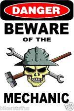 DANGER BEWARE OF THE MECHANIC WITH SKULL HARD HAT STICKER HELMET STICKER