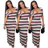 Women Short Sleeves Striped Bodycon Clubwear Cocktail Party Evening Long Dress