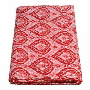 Handmade Indian Kantha Quilt Cotton Floral Blanket Hand Block Throw Bedspread