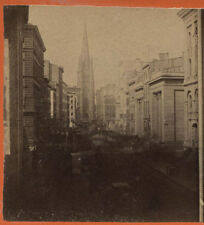 STEREOVIEW WALL STREET N.Y. CITY. VERY EARLY ALBUMEN IMAGE.