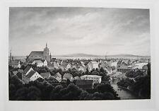 Guben  Brandenburg sehr seltener Stahlstich 1845 Probedruck auf Velin