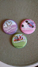 3 Disney Buttons JUST ENGAGED & HAPPILY EVER AFTER Set Wedding Engagement Pins